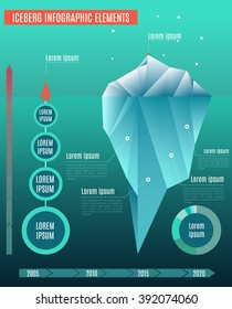 Iceberg infographics elements. Set of  business infographic elements. Low polygon style illustrations. Underwater infographics.