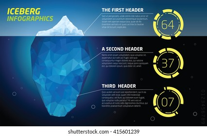 Iceberg infographics.  Ice, sea and water illustration.