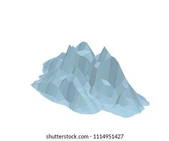 Iceberg. Isolated on white background. 3d Vector illustration. Isometric projection.