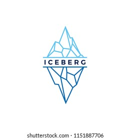 iceberg logo geometric line outline monoline illustration