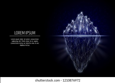 Iceberg low poly wireframe mesh made of points, lines and shapes. Vector polygonal art style design. Poster banner template with copy space.