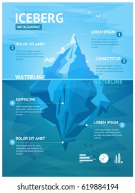 Iceberg in Ocean with Underwater Part Infographic Menu Flat Design Style. Vector illustration