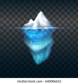 Iceberg on transparent background. Block of ice in the sea. Vector illustration.