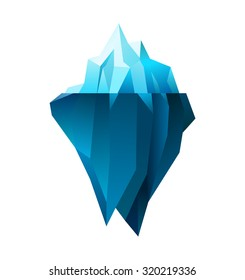 iceberg on white background, polygonal illustration