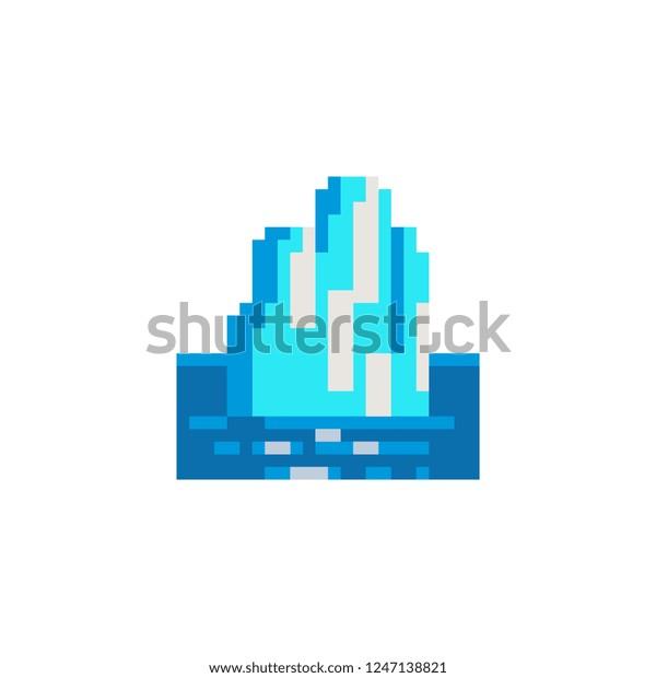 Image Vectorielle De Stock De Iceberg Pixel Art Icon Ice