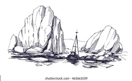 Iceberg sketch. Vector illustration.
