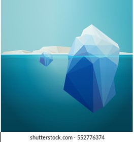 iceberg underwater, background, low poly