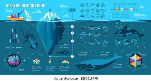 Iceberg and underwater infographics. Vector flat elements with polygonal 