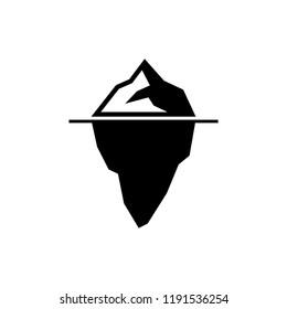 Iceberg Vector Icon. Black and White. Monochrome color.