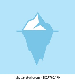 Iceberg vector icon illustration isolated on blue background