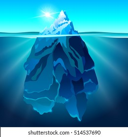Iceberg in water realistic vector background