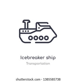 icebreaker ship outline icon. isolated line vector illustration from transportation collection. editable thin stroke icebreaker ship icon on white background