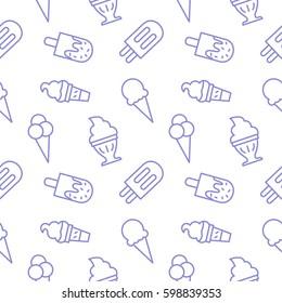 Icecream background seamless vector pattern