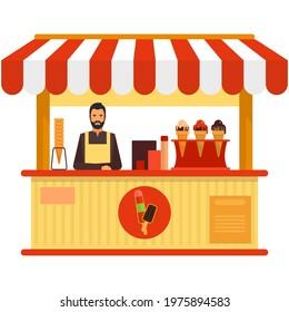 Ice-cream booth cart vector street food shop