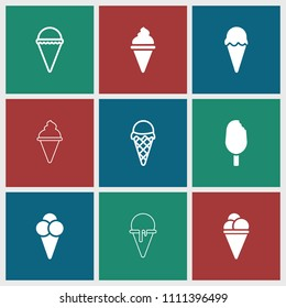 Icecream icon. collection of 9 icecream filled and outline icons such as . editable icecream icons for web and mobile.