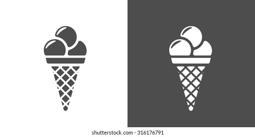 Icecream icon. Two-tone version of icecream vector icon on white and black background