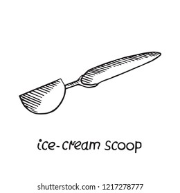Ice-cream scoop, hand drawn doodle sketch, black and white vector illustration