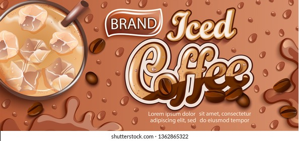 Iced coffee banner on bokeh background, splashing drink with ice cubes, coffee beans and tropical leaves for brand