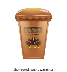 Iced coffee cup mock up. Realistic vector.