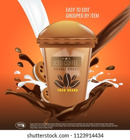 Iced coffee cup with pouring down chocolate splash and cookies advertising layout. Illustrated vector.