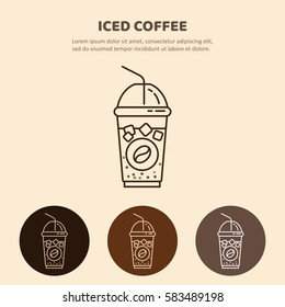 Iced coffee  line icon.  Drink vector. Linear restaurant, shop pictogram.