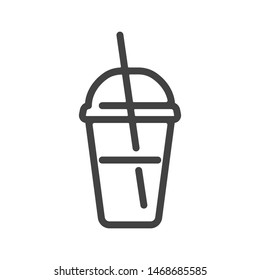 Iced Coffee outline icon. Vector illustration.