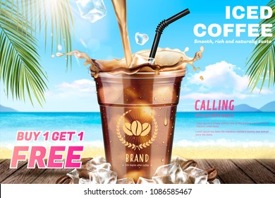 Iced coffee pouring down into a takeaway cup on attractive resort background in 3d illustration