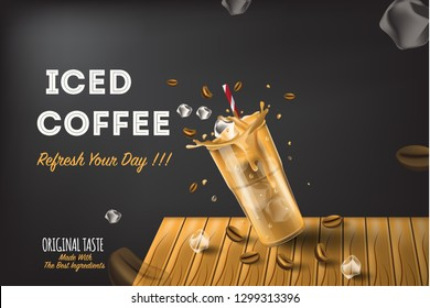 iced coffee splash on sugar with realist vector display for labels, ads, promotion