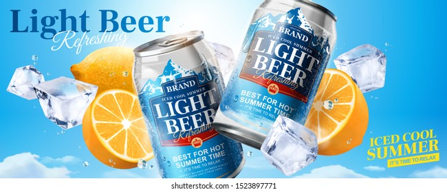 Iced cool light beer banner ads with ice cubes and lemon on blue sky background in 3d illustration