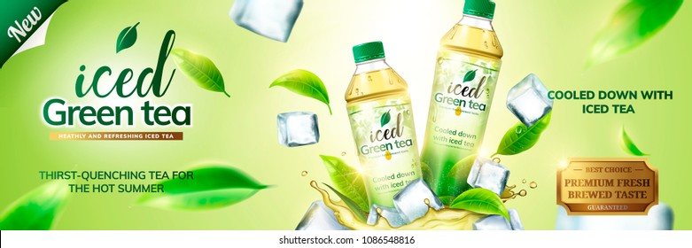 Iced green tea ads with bottles on ice cubs and leaves flying around them, 3d illustration on green background