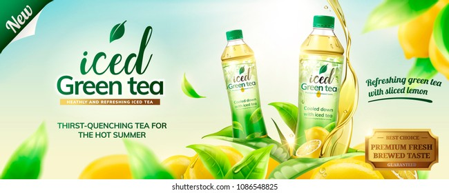 Iced green tea ads with bottles on lemons and leaves flying around them, 3d illustration on outdoor background