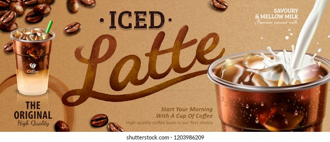 Iced latte banner ads in 3d illustration, coffee on kraft paper background