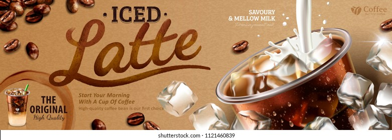 Iced latte banner with milk pouring into takeaway cup on kraft paper with latte calligraphy, 3d illustration