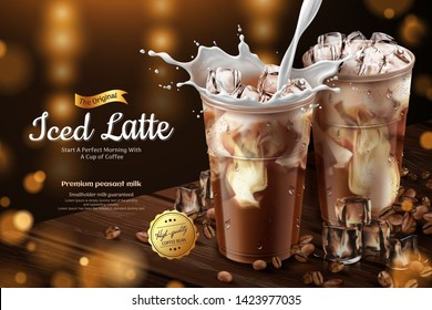 Iced latte with milk pouring into the cold cup on wooden table top in 3d illustration
