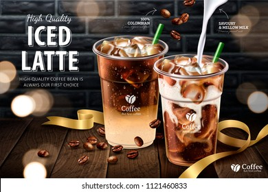Iced latte in takeaway cup on wooden plank and grey brick wall background, 3d illustration