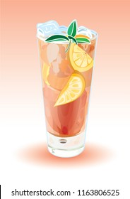 Iced tea in simple glass vector illustration