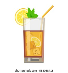 Iced tea with sliced lemon and mint. Flat design. Abstract concept. Vector illustration.