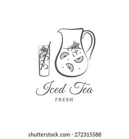 Iced tea vector logo or sign. Vector illustration jug, glass, lemon. Design elements