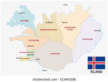 iceland administrative and political map