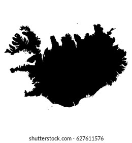 Iceland black map on white background vector