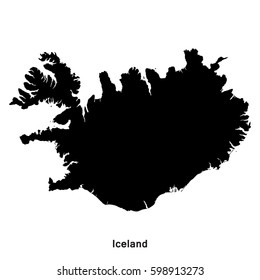 Iceland black map,border with name of country