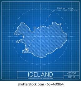 Iceland blueprint map template with capital city. Reykjavik marked on blueprint Icelander map. Vector illustration.