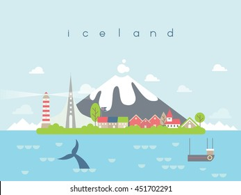 Iceland Famous Landmarks Infographic Templates for Traveling Minimal Style and Icon, Symbol Set Vector Illustration Can be use for Poster Travel book, Postcard, Billboard.