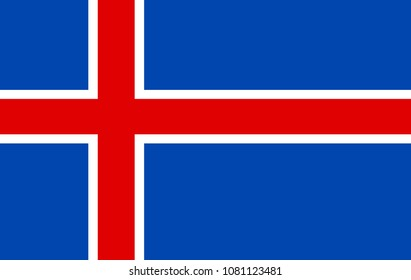 Iceland flag, official colors and proportion correctly. National Iceland flag. Flat vector illustration. EPS10.