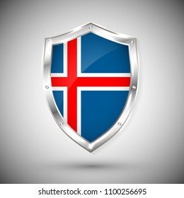 Iceland flag on metal shiny shield vector illustration. Collection of flags on shield against white background. Abstract isolated object.