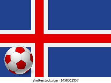 Iceland flag and soccer ball. National football background. Soccer ball with flag of Iceland vector illustration