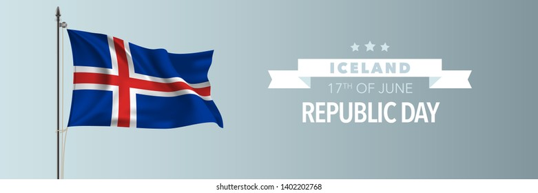 Iceland happy republic day greeting card, banner vector illustration. Icelandic national holiday 17th of June design element with waving flag on flagpole