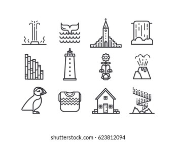 Iceland icons.  Main country symbols and tourist attractions.