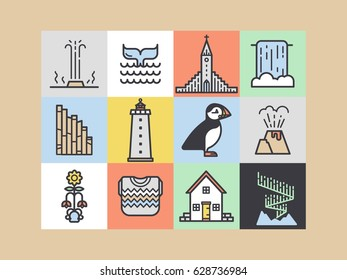 Iceland icons. Main country symbols and tourist attractions. For apps, web, t-shirts and etc.