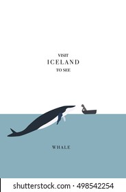 Iceland inviting postcard. Whale and a man in a boat. Meeting vector illustration, simple flat design.